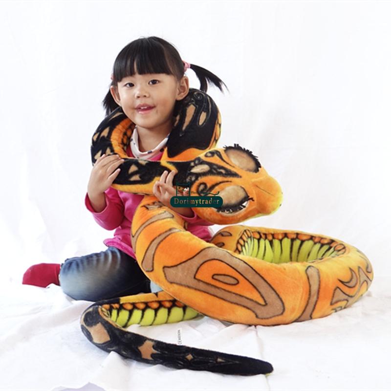 Dorimytrader Novelty Toy 130'' / 330cm Giant Stuffed Soft Plush Cartoon Animal Snake Pillow Toy Baby Gift Free Shipping DY60772(China (Mainland))