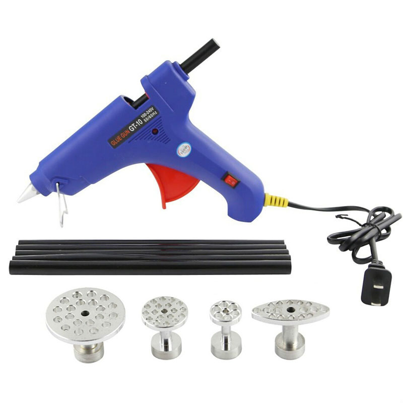 Hot Melt Glue Gun Low Temp 100w 100v-240v Fast Heat with 10 Pcs Glue Stick and 4 Size Aluminum Glue Puller Tabs PDR Tools(China (Mainland))