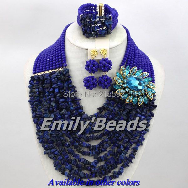 Nigerian Wedding African Beads Jewelry Set 2014 New Royal Blue African Costume Jewelry Set 10 Layers Free Shipping AES394<br><br>Aliexpress