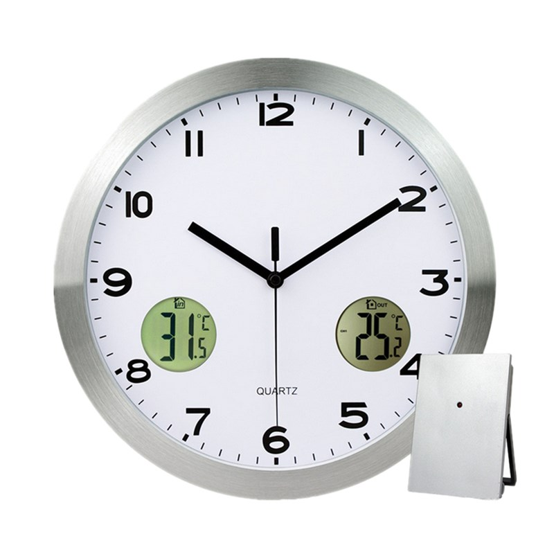 Stainless Steel Wall Clock Thermometer With Indoor Outdoor Temperature Display Quartz Silent Sweep Movement Temperature Humidity(China (Mainland))