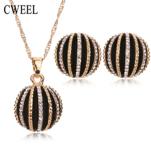 Cweel Jewelry Sets For Women Fine African Beads Gold Plated Bridal Crystal Pendants Necklace Earrings Set Wedding Accessories(China (Mainland))