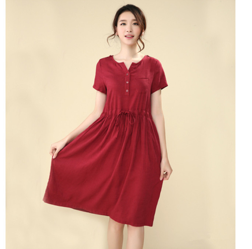 Plus Size Ladies Summer Dress Stylish Plain Short Sleeve V Neck Dresses Women's clothing(China (Mainland))