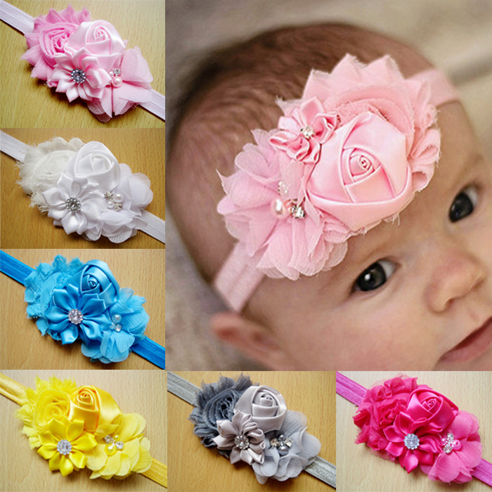 2016 Newborn stain Rose Pearl Lace Flower Hair Accessories Headwear baby rhinestone headband Infant Children Baby Gair Headband(China (Mainland))