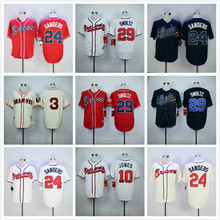 3 Dale Murphy 10 Chipper Jones 24 Deion Sanders 29 John Smoltz throwback Jerseys white red black blue gray(China (Mainland))