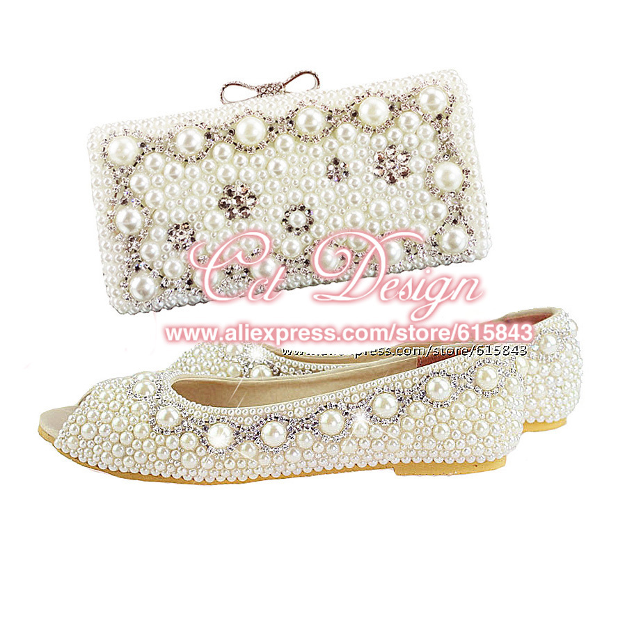 New Customized Handmade Women Shoes Flats Silver Crystals And Ivory Pearls Wedding Shoes And Matching Bags Free Shipping<br><br>Aliexpress