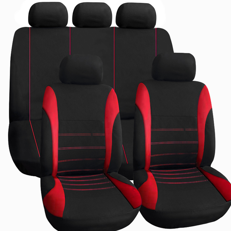 Full set Cloth Mesh Car Seat Cover Set Universal Fit Most Cars Covers with Tire Track Detail Styling Car Seat Protector(China (Mainland))