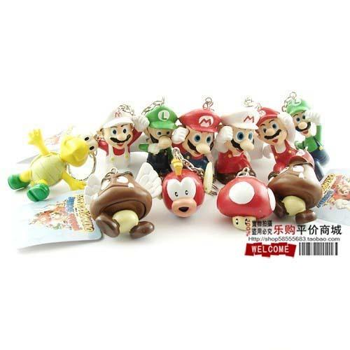 Высокое Качество ПВХ Super Mario Bros брелок Луиджи Фигурки 11 шт./компл. youshi марио подарков розничная карты
