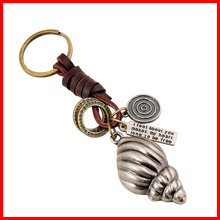 Fashion cheap wholesale keychains Metal Conch Charm custom key ring(China (Mainland))