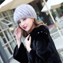 Women Russian Women Natural Fur cap Luxury knit mink fur hat winter fur hat  MZ321