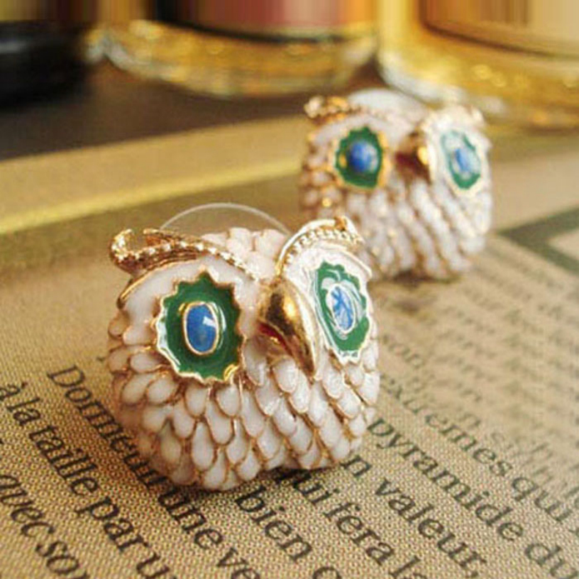 Best Deal New fashion hot small cute big eyes of the lacquer that bake the owl earrings Ear Studs for Women Lady Perfect Gift(China (Mainland))