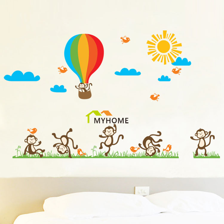 Free Shipping Birds And Monkeys Flying To Sky By Parachute Cartoon Animals Child Wall Stickers For Kids Rooms Decor(China (Mainland))