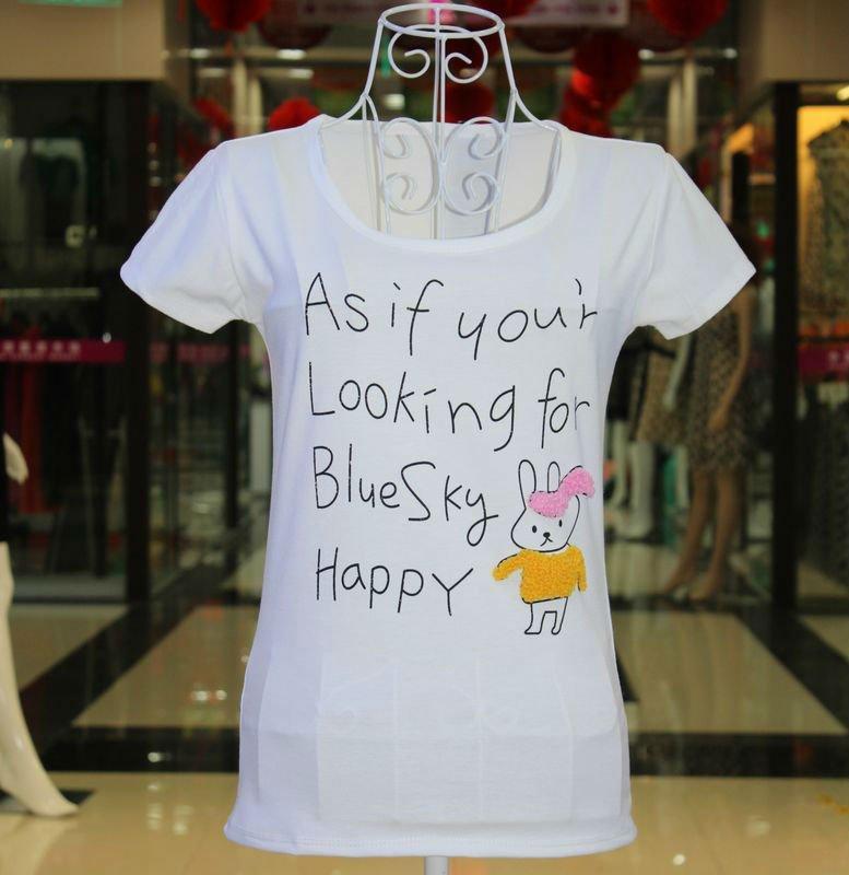 2012 summer Women's round collar Casual T Shirt 100% Cotton fashion t shirt - Loveliness Ladies Fashion store