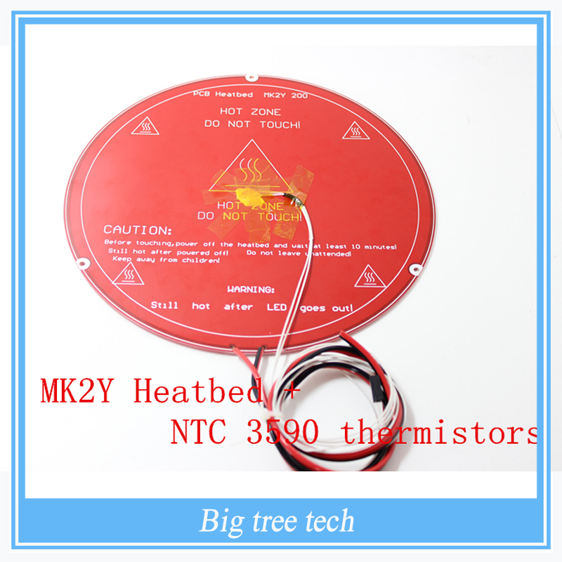 RepRap 3D Printer Parts PCB MK2Y Heatbed  + Cable + NTC  Thermistors  with  DuPont head Aluminum Heated Bed Diameter <br><br>Aliexpress