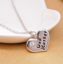 New Design Fashion Luxury God Mother Heart Pendant Necklace Family letter chain necklace jewelry women 2015(China (Mainland))