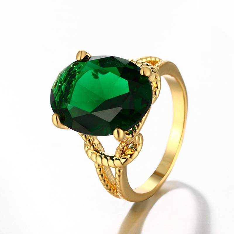 wholesale fashion big green crystal ring for women vintage
