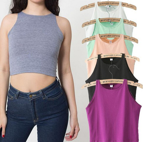 6 Colors 2015 New Women Tight Bustier Crop Top Skinny T-Shirt Belly Sports Dance Tops Woman's Cropped Top Short Vest Tank Tops(China (Mainland))