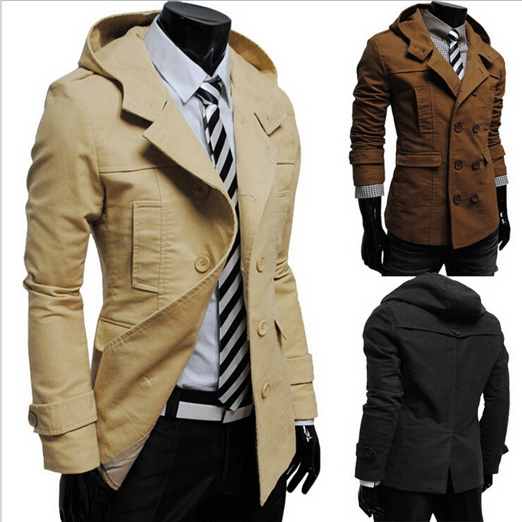 New fashion double breasted men's trench coat long sleeve British style hot selling men coats brief and comfortable overcoat(China (Mainland))