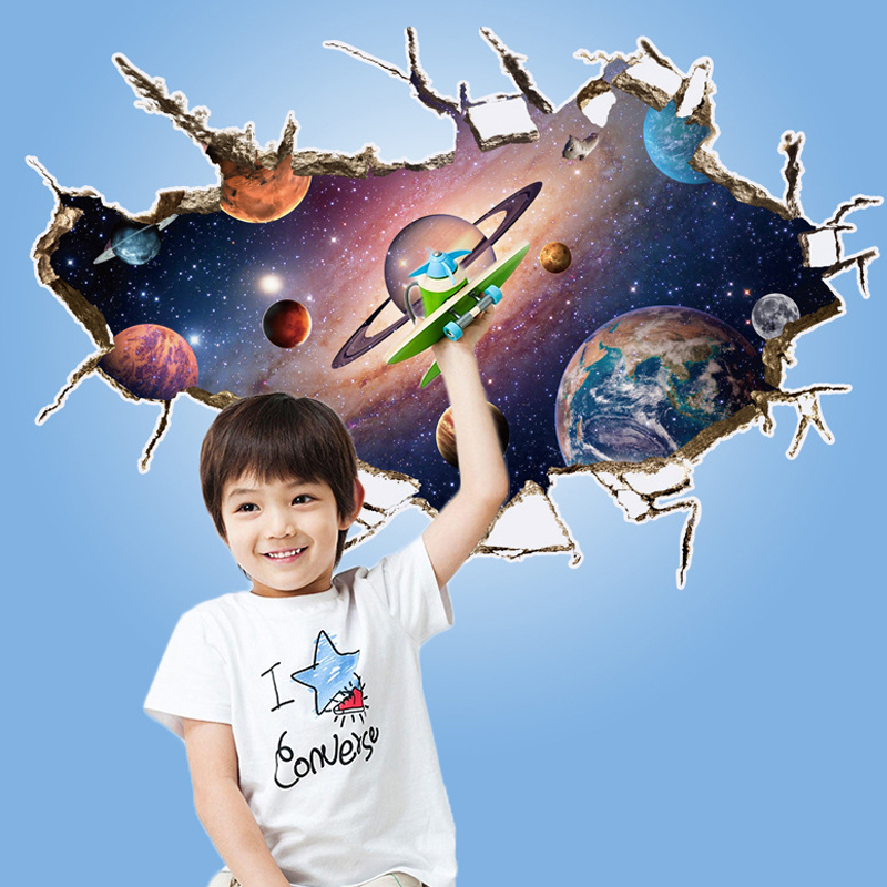Baby Love Planets Wall Sticker Home Decor DIY the Planets Spaceman Dreamcatcher Window View Wall Decal Baby Kids Room Decoration(China (Mainland))