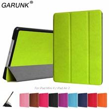 Case for iPad Air 2 / iPad Mini 4, GARUNK Flip PU Leather Tri-Fold Folding Folio Smart Wake UP Cover for iPad Mini 4 / iPad 6(China (Mainland))