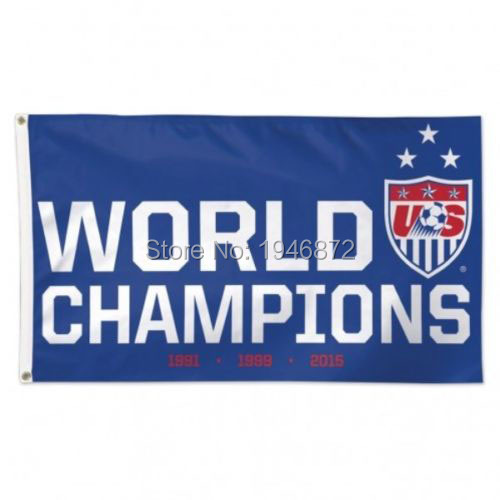 US Women's Soccer Team 2015 World Cup Champions USA 1991 1999 2015 Banner Flag 3' x 5' Custom Football Flag(China (Mainland))