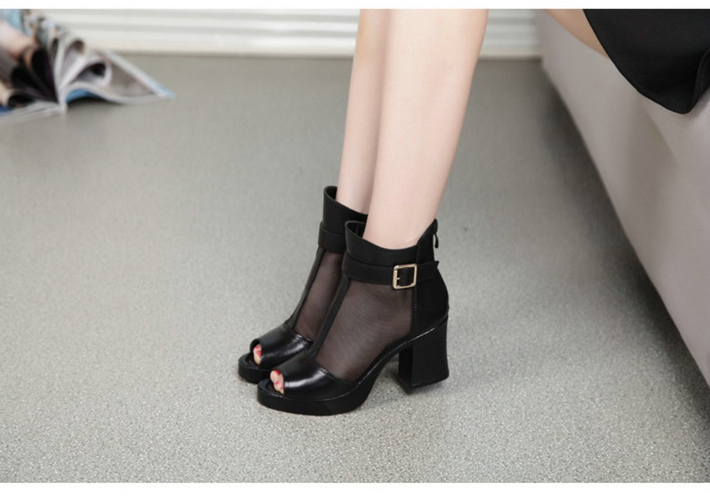016 Autumn Genuine Leather High Heeled Women Shoes Fish Head Net Women's Sandals Fashion Casual Footwear YS1608029