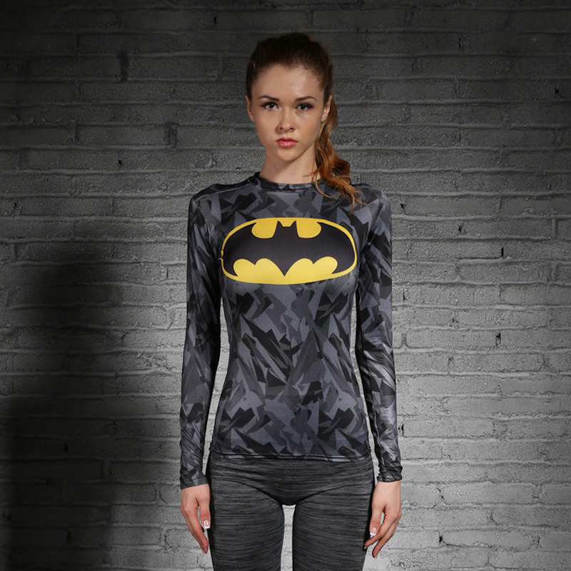Women T-shirt Bodys Armour Marvel costume superman/batman T Shirt Long Sleeve Girl Fitness Tights Compression tshirtsОдежда и ак�е��уары<br><br><br>Aliexpress
