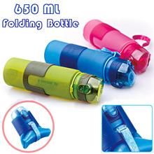 2016 Portable 650ml Silicone Folding Water Bottle Climbing Hiking Camp Sports Kettle Leak-proof Plastic Bottle Drinkware(China (Mainland))