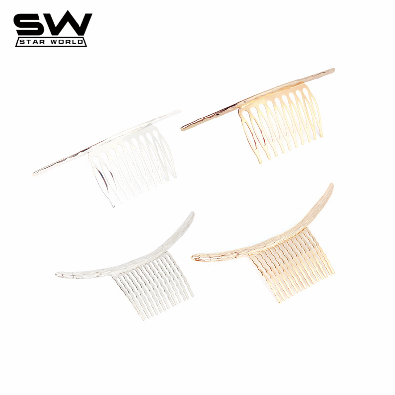 STARWORLD Hot Western Fashion Flat&3D Hair combs Gold/Silver Plated Camber Hair Jewelry One Word Style for Women F001(China (Mainland))