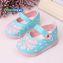Flower Toddler Baby Casual Shoes 2016 New Spring  Baby Girls Shoes Soft Bottom Leather Prewalker Infant Shoes Flat(China (Mainland))