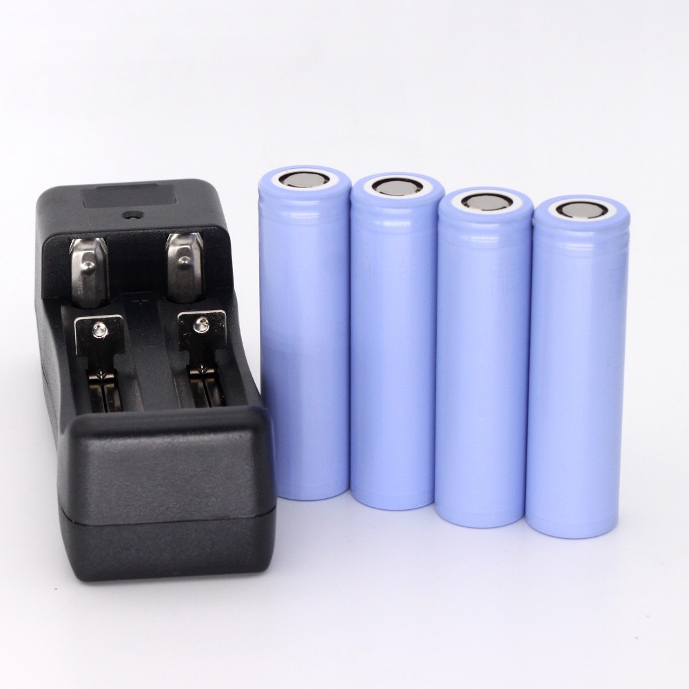 4PCS New Original high drain battery 10A 18650 ICR18650-22P 2200mAh Li-ion 3.6v rechargeable Battery For samsung + charger<br><br>Aliexpress