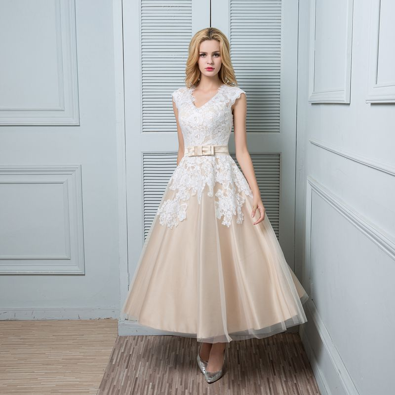 A line wedding dress champagne ankle length v neck lace for Lace ankle length wedding dress