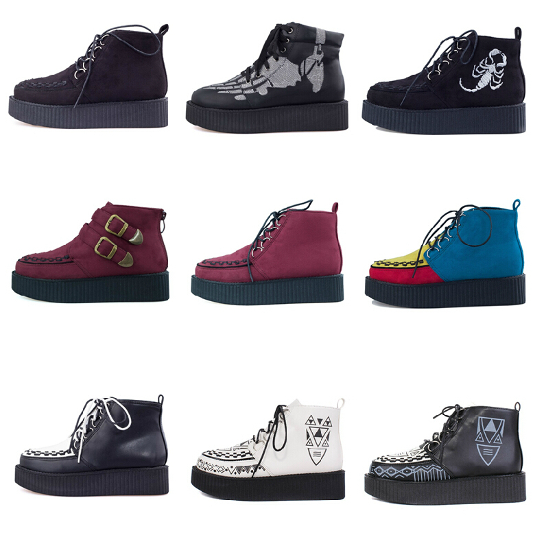 Japanese Multi Colored Harajuku Creepers Platform Shoes Casual Womens Ladies Punk High Top Canvas Lace Up Ankle Boots Booties<br><br>Aliexpress