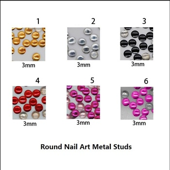 Free shipping 5x 1000pcs/pack 3mm Round Shape Silver/gold/black/red/purple/rose Nail Metallic Decoration,  Nail Art Products
