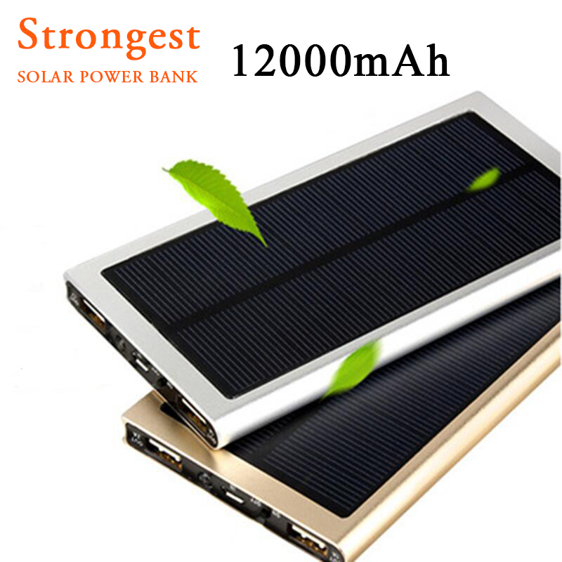 Universal Solar Power Bank 12000mAh Ultra-Thin Metal Solar Charger External Battery Pack Dual USB Charger for all phone(China (Mainland))