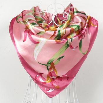 2015 Fashion Brand Women Polyester Pink Silk Scarf Wraps Wholesale Spring Autumn China Style Satin Square Scarf Printed 90*90cm