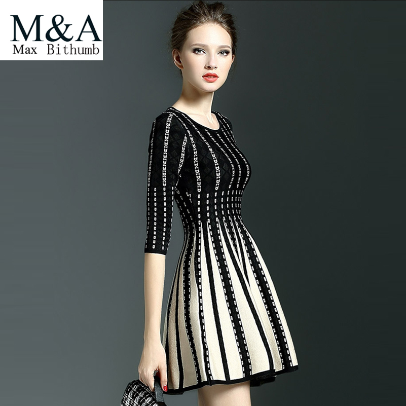 Fashion 2016 Winter Dress Women's O-neck Striped Knitting Ladies Dresses Knee-length Casual Pleated Dress Famale Clothing(China (Mainland))