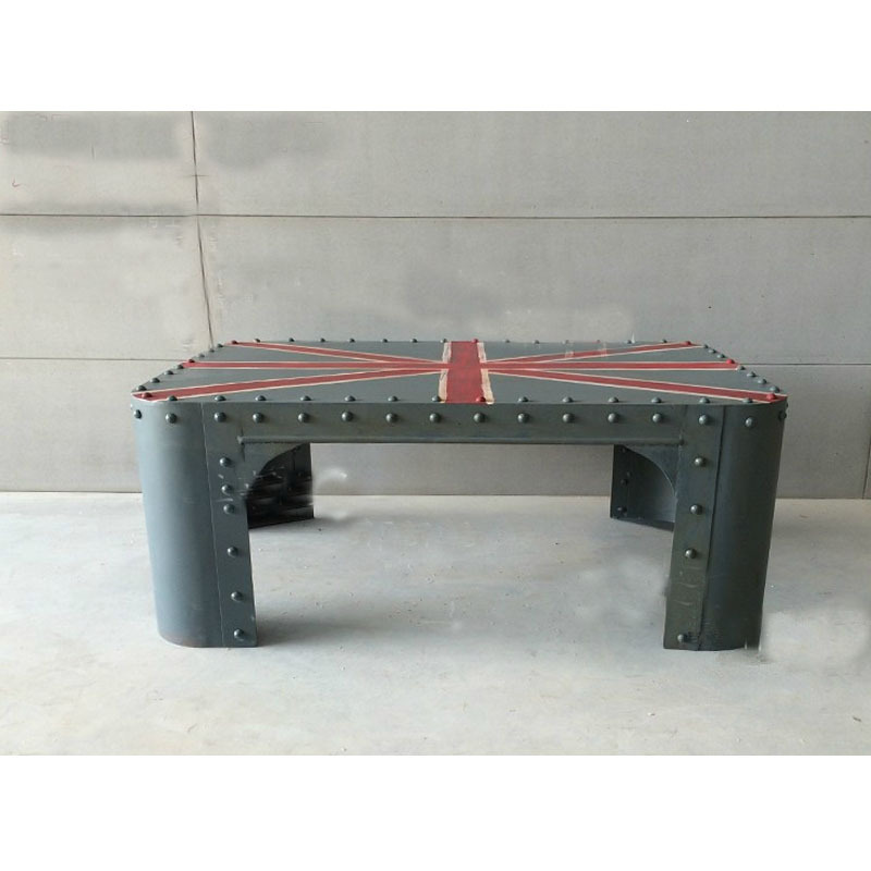 French Industrial Coffee Table: French-industrial-furniture-Great-Britain-flag-painted