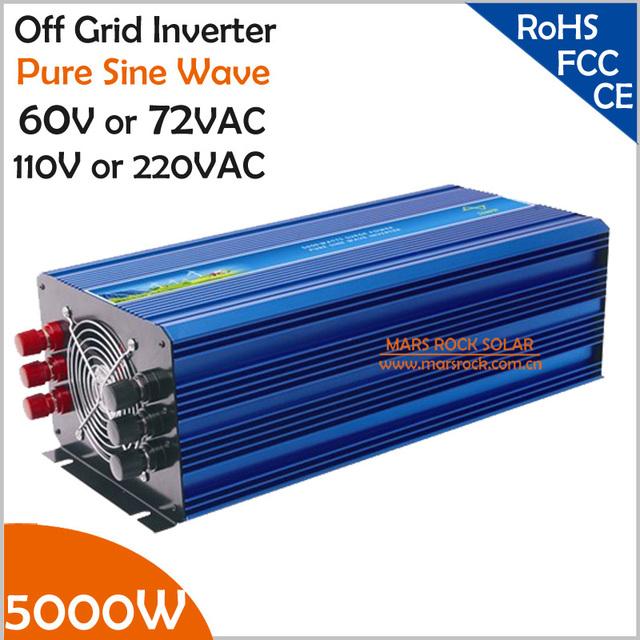 5000W 60V/72VDC 100/110/120VAC or 220/230/240VAC Pure Sine Wave PV Inverter Off Grid Solar& Wind Power Inverter PV Inverter