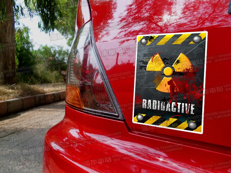 biochemical nuclear radiation Simulation results car sticker reflective warning sticker(China (Mainland))