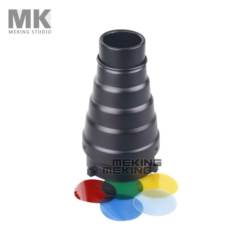 Photography Studio Flash MK(S) Conical Snoot Light Control for Bowens Strobe with Gel Filter Color Red Yellow Green Blue(China (Mainland))