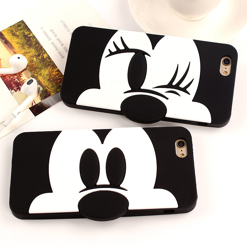 3D Cute Silicone Cartoon Mickey Minnie Mouse Cover For iphone 6 6s 6 Plus 5 5S SE Silicon Back Case Cover Phone Bags Protective(China (Mainland))