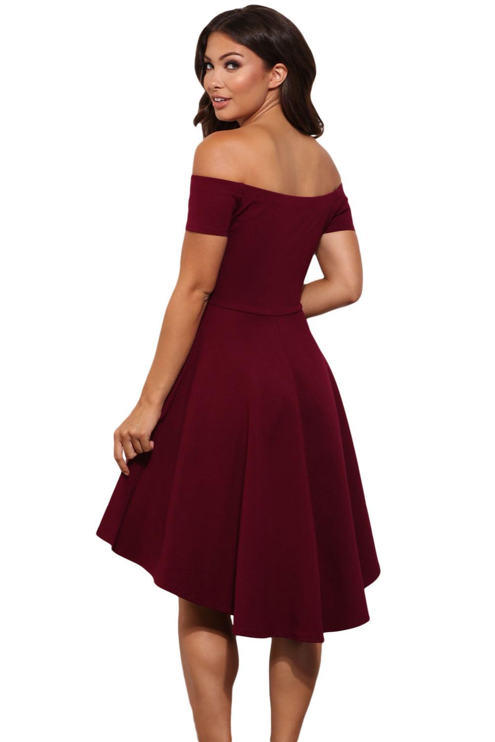 61346 Fall Burgundy High Low Skater Dress