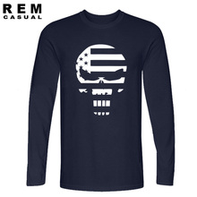 new American Sniper Chris Kyle Men Long sleeve T Shirt Punisher Skull Navy Seal Team Legend Printed Fashion funny hip hop Casual(China (Mainland))