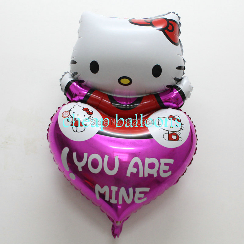 Good quality.100pcs/lot heart shape hello kitty cat cartoon foil ballons inflatable air balloons for birthday party decoration(China (Mainland))