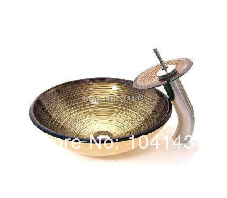 Best Quality Faucet Construction Real Estate Bath Fixtures Round Single Hole Bowl Sinks Vessel Basins Set