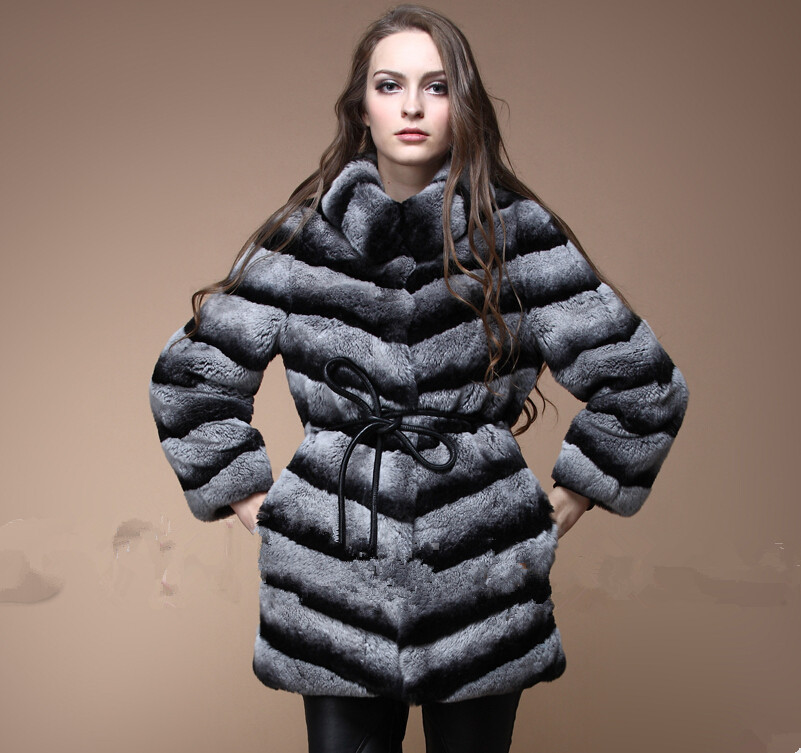 Best Quality New Fashion Real Chinchilla Fur Coat For Women Genuine Rex Rabbit Fur Coats Outerwear Woman Natural Fur Overcoat(China (Mainland))