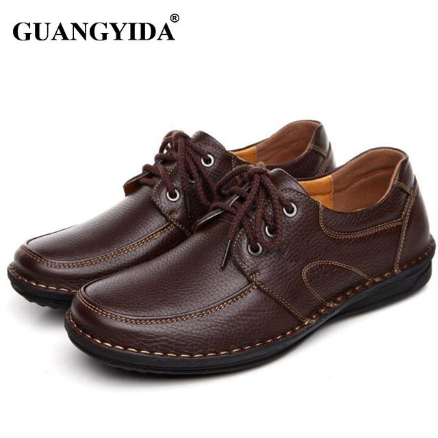 Горячая распродажа из натуральной кожи коричневого мужчин ботинок квартир, Ручной ...