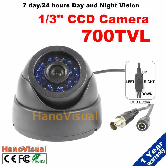 "Hotselling!1/3"" 960H Effio-E Super HAD II CCD CCTV Camera 700tvl 24pcs IR Led Lights OSD Menu Button Dome Home Security Camera(China (Mainland))"