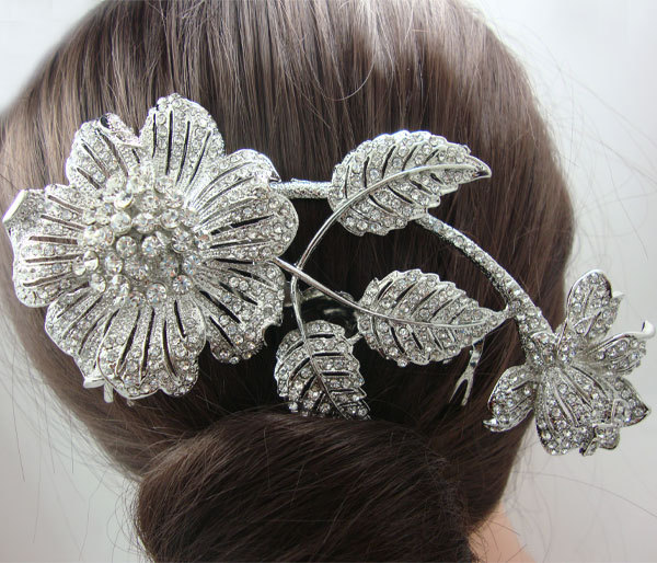 Bridal Wedding Hair accessories Bouquet Bridal Bridesmaid Rhinestone Crystal Flower Hair Comb(China (Mainland))