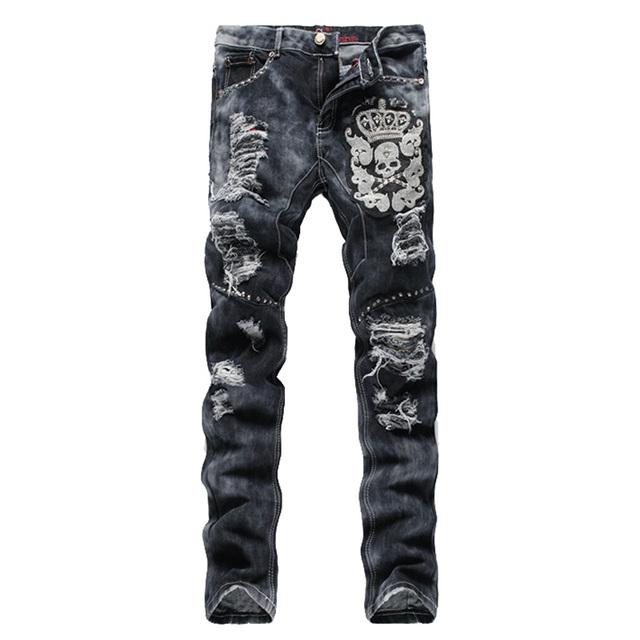 Мужская мода череп корона заклепки вышивка рваные джинсы Отверстие патч серые джинсовые ...